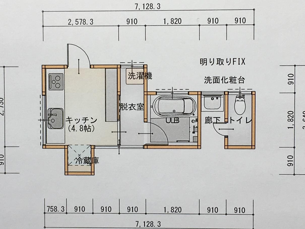 平面図 流し台部分を増築し脱衣室を確保